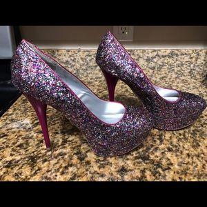 Qupid multi glitter heels